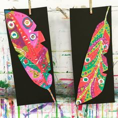 Painted paper feathers