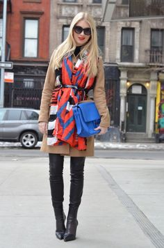 Bright color scarf tucked into belt // thestylesafari.com, Stefanie Schoen, leather pants, leather leggings, helmut lang, Coach, scarf tucked into belt, how to wear a scarf, different ways to wear a scarf, brightly colored scarf, blue bag, cobalt bag, black boots, alexander wang, reed krakoff