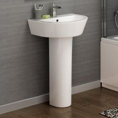 Contemporary Curved Basin & Pedestal - Single Tap Hole
