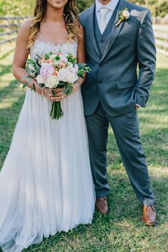 Bride and Groom Attire - Spring Rustic Romance- Love Marley Penelope Wedding Gown - Grey Suit - Ivory Tie