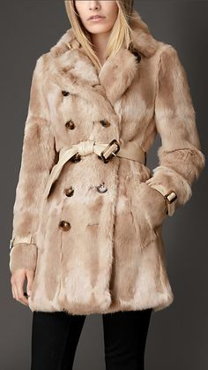 Mink Trench Coat with Leather Trim | Burberry