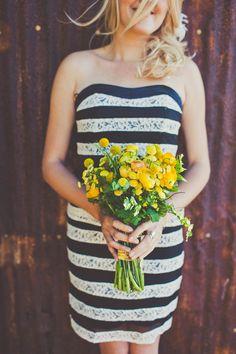 B&W bridesmaids. #stripe