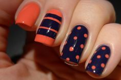 OPI Live. Love. Carnaval and OPI Road House Blues nail art with polka dots and stripes