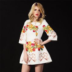Short Dresses – White Floral Jacquard Floral Print Dress – a unique product by luminositylondon via en.DaWanda.com