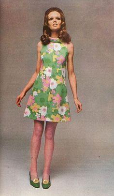 1960s green pink print dress