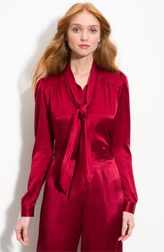 Shimmering silk satin shapes a soft, tie-neck blouse with gathers all around the yoke that add a bit of glamorous volume to the silhouette. Satin Top, Silk Satin, Satin Jumpsuit, Tie Neck Blouse, Satin Blouses, Satin Dresses, Rock, Women Wear, Outfits