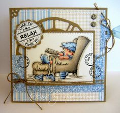 - Moni´s creative place: ♥ Lili of the Valley . Put your Feet Up! Z Cards, Cool Cards, Kirigami, Birthday Cards For Boys, Fathers Day Cards, Lily Of The Valley, Watercolor Cards, Copics, Masculine Cards