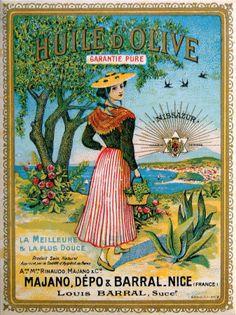 French Advertising Kitchen Sign - Huile d' Olive Oil Pub Vintage, Vintage Labels, Vintage Signs, Vintage Art, Vintage Advertising Signs, Old Advertisements, Vintage Travel Posters, Olives, Olive Oil Bottles