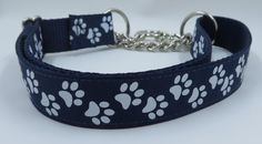 1navy blue paw prints adjustable dog collar by WagSwagPetSupplies