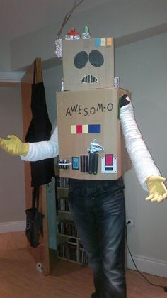 A homemade AWESOM-O costume from the hit TV series South Park, created by Cartman and one of the funniest characters ever. Funny Character, Homemade Costumes, South Park, Dress Ideas, Fancy Dress, Fun Facts, Halloween, Dresses, Whimsical Dress