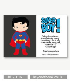 Personalised Superman Invitations.  Printed on Professional 300 GSM smooth card with free envelopes & delivery as standard. www.beyondtheink.co.uk