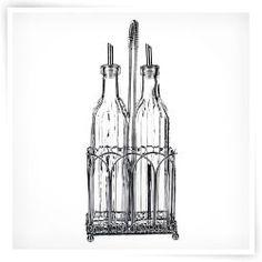 Global Amici Classic Oil and Vinegar Glass Set