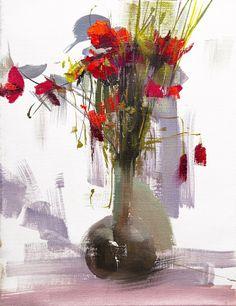 Flores amapolas pintura, pintura de bodegones al óleo, blanco y rojo de la pared arte lienzo la pintura de flores Bouquet de verano