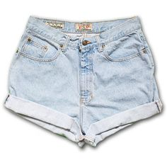 Vintage 90s Express Light Blue Wash High Waisted Rise Cut Offs Cuffed... ($24) ❤ liked on Polyvore featuring shorts, bottoms, pants, unused, black, women's clothing, cut-off jean shorts, high-waisted shorts, high-waisted cut-off shorts and vintage denim shorts