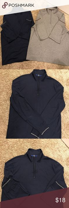 Bundle! Men's cotton half zips 2 half zips. T shirt material. Super soft. 100% cotton. Nice for a more casual look. The navy blue one has a gray stripe detail by the wrists. The gray one has a maroon stripe detail by the wrists. Both in excellent condition. Never been in the dryer! Banana Republic Shirts
