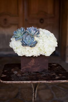 These floral-filled wedding flower ideas from Heavenly Blooms are pure gorgeousness. We are having a major swoon sesh over them. Take a look and happy pinning! To see part I of Heavenly Blooms' amazing wedding reception ideas here. Succulent Centerpieces, Wedding Centerpieces, Wedding Decorations, Centrepiece Ideas, Mod Wedding, Dream Wedding, Blue Succulents, Denim And Diamonds, Santa Ynez