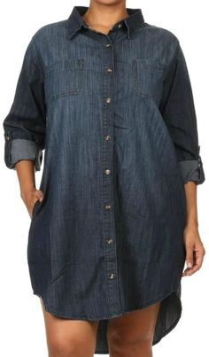 This would be so cute belted!  Plus Size Denim Shirt Dress
