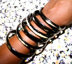 Natural horn bangles- handmade in Senegal