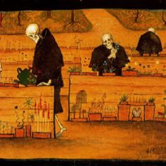 The Garden of Death. The Garden of Death (watercolor and gouache) by Hugo Simberg. Death and the Afterlife by Cliff Pickover Art And Illustration, Memento Mori, Memes Arte, Classical Art Memes, Video Streaming, Danse Macabre, Gouache, Dark Art, Art History