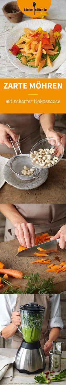 ZARTE MÖHREN MIT SCHARFER KOKOSSAUCE -  Ihr mögt es an heißen Tagen schön scharf? Dann probiert unbedingt unser Rezept für Möhren mit Kokos aus. Soooo gut!