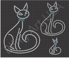 Rhinestone Cat Files Pattern Bling Kitty SVG PLT PDF EPS Kitten Stencil Pet System Animal Easy Color