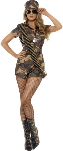 Join the armed forces with our fabulous soldier girl costume. You will be able to keep all your fellow army soldiers on point with this costume. The outfit is an all in one suit finished with shorts rather than a skirt. Why not add some sexy leather boots to finish your army look?...