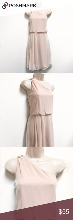 ADRIANNA PAPELL NWT Pink OneShoulder Chiffon Dress * Condition: NWT * Brand: Adrianna Papell * Size: 6 & 14 * 6 (armpit to armpit: 18 inches / length: 36 inches) * 14 (armpit to armpit: 21 inches / length: 38 inches) * This item is super cute for the spring and summer! * Wedding season is coming soon and this is the perfect piece! Adrianna Papell Dresses One Shoulder