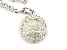 Saint Christopher Necklace  Catholic Medal  Safe by LuxMeaChristus