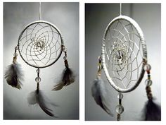 Dreamcatcher made with grouse feathers from the north of Norway, quartz and small beads with the colours of the sami flag.  www.malinpettersen.com Grouse, Norway, Feathers, Dream Catcher, My Arts, Quartz, Flag, Colours, Beads