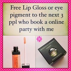 Free lipgloss or pigment to the next 3 people who book an online party with me in February!!! You can go directy to my website or message me. www.youniqueproducts.com/hewalden