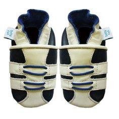 Dotty Fish Leder Babyschuhe - rutschfest Wildledersohle - chromfrei weiche Lederschuhe - Baby Jungen - marineblau und weiß Turnschuhe