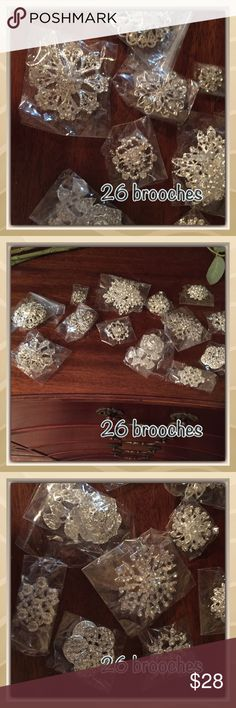 26 sparkly brooches 26 sparkly brooches. All different sizes. Most in packages still. Very sparkly! All silver Jewelry Brooches
