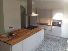 cementtegels in keuken Flowerz 4 Blue Version