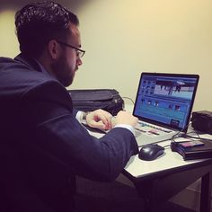 Our man Zach Choate editing video of AM skate for KPLR and Fox 2 News