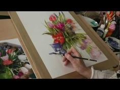 Искусство акварели. Shirley Trevena R.I... This lady shows how to use sand paper and watercolor pencils to get little dots or splattering of paint onto your picture. Also she uses a stiff scrubbing brush to pull the color across the paper. Worth Watching...