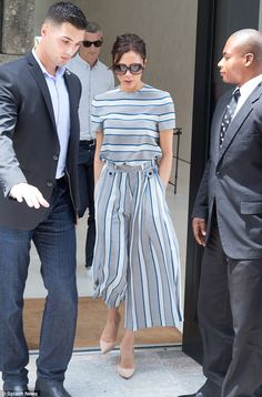 Earning her stripes: The designer looked seriously stylish in matching blue striped top andculottes, thought to be from her upcoming SS16 collection