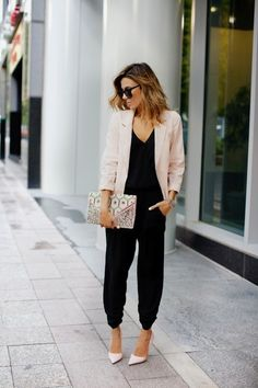 Black jumpsuit with blush pink blazer ❤️ love how casual but dressy this is