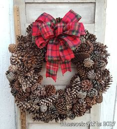 Pine Cone Wreath with Red & Green Plaid Flannel Bow Handmade Christmas, Christmas Time, Christmas Wreaths, Pine Cone Crafts, Wreath Forms, Pine Cones, Grapevine Wreath, Home Crafts, Red Green