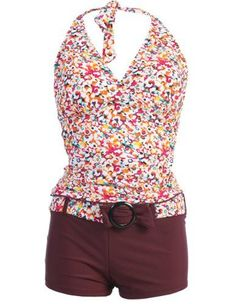 tankini+with+tummy+control+and+boy+cut | Piece Halter Tankini Boy Shorts Swimsuit Set - List price: $49.00 ...