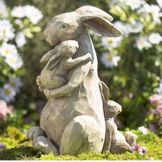 If this Momma and Baby Bunnies Garden Statue doesn't warm your heart, we don't know what will! This sweet family of rabbits has a woodcut look wit… - All For Garden Rabbit Garden, Rabbit Art, Dog Garden, Statue Art, Illustration Photo, Rabbit Sculpture, Animal Statues, Bunny Art, Unique Gardens