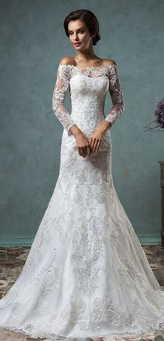 Look sublime in this Off-the-shoulder Long Sleeves Mermaid Wedding Dress. This gown includes a detachable train! Learn more at http://www.cutedresses.co/product/off-the-shoulder-long-sleeves-mermaid-wedding-dress/