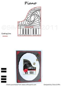 Piano IF on Craftsuprint designed by Silvia Griffin - Great pattern for a music lovers especially for piano music. Iris Folding
