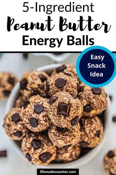 Whip together a batch of peanut butter energy balls with just 5 simple ingredients. So easy and delicious. Easy Snacks, Healthy Snacks, One Pot Dinners, High Protein Snacks, Breakfast Snacks, Most Popular Recipes, Energy Bites, Raw Food Recipes, Slow Cooker Recipes