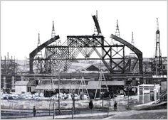 Construcción de la fachada de la estación de Atocha