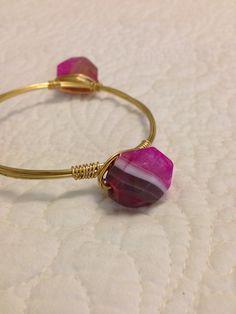 Pink stone bangle on Etsy, $28.00