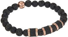 Steve Madden Stainless Steel Lava Stone Stretch Bracelet Bracelet