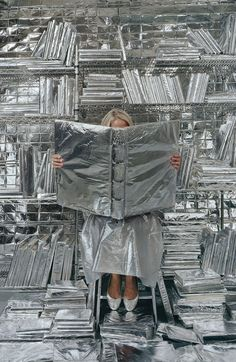 Artist Rachel Perry Welty finds the deadpan humor in the everyday things we often overlook ALL THINGS SILVER – backdrop idea of aluminum foil covered things? or just a wrapped canvas frame or something could be fun! Rachel Perry, Instalation Art, Look Fashion, Fashion Images, Art Direction, Editorial Fashion, Backdrops, Fashion Photography, Photography Humor