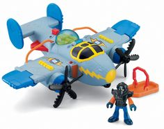 """Fisher-Price Imaginext Sky Racers Tornado Prop with Bonus Plane. Boys can play out their favorite airplane adventure with the new Imaginext Sky Racers. Plane has two """"razor sharp"""" propellers. Includes a rescue raft that can be picked up by the plane. The canopy opens and closes with room for a figure to sit inside. Includes an action figure with a helmet."""