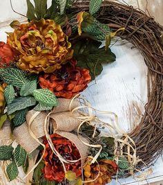 Front door wreath, Peony Wreath - Wreath Great for All Year Round - Everyday Burlap Wreath, Door Wreath, Fall front door wreath by FarmHouseFloraLs on Etsy