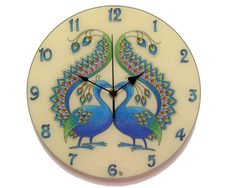Peacock Silent Wall Clock, Original Paiting Wall Clock, Blue Home Decor, Unique, Glass Paiting Wall Clock, Peacock Decor Blue Wall Decor, Blue Home Decor, Retro Home Decor, Wall Clock Silent, Wall Clocks, Wedding Anniversary Gifts, Wedding Gifts, Wall Watch, Peacock Decor